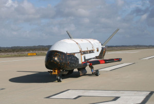In a testing procedure, the X-37B Orbital Test Vehicle taxis on the flightline March 30, 2010, at the Astrotech facility in Titusville, FLa. (Courtesy photo)