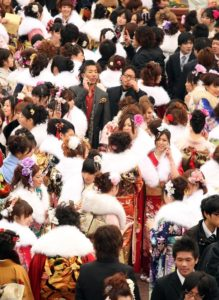 TOKYO - JANUARY 11: Japanese twenty-year-olds, dressed in traditional kimonos, attend the annual Coming-of-Age Day ceremony at Toshimaen Amusement Park on January 11, 2010 in Tokyo, Japan. 1.27 million young people celebrate their passage into adulthood on the day while they become eligible to drink alcohol, smoke and vote at the age of 20. (Photo by Koichi Kamoshida/Getty Images)