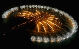Dubai celebrates the landmark Grand Opening of Atlantis, The Palm Resort, and the Palm Jumeirah during unprecedented pyrotechnics and illumination sequences on November 20, 2008 in Dubai, United Arab Emirates.